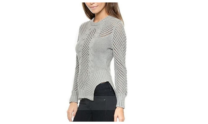 Bigood Women's Stylish Hollow Out Long Sleeve Pullover Sweater Slim Blouse