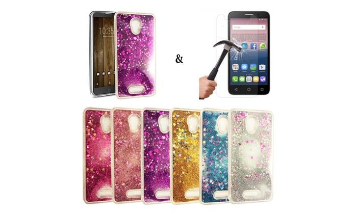 new products 3acdd e101e Liquid Glitter Case & Tempered Glass Included! For Alcatel Fierce 4 ...