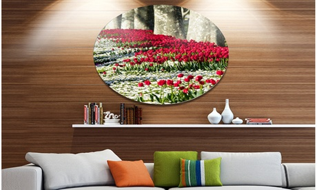 Wild Tulip Flowers in Forest Pasture' Disc Floral Circle Metal Wall Decor 89b1387e-64a7-44a9-bb25-90a50d8f7b94