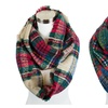 Womens Plaid Pattern Design Loop Infinity Style Cold Weather Scarf