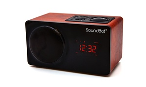 SoundBot SB1025 FM Alarm Radio Clock Bluetooth Portable Speaker