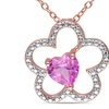 1 CT TGW Created Pink Sapphire Pendant With Chain Silver Pink