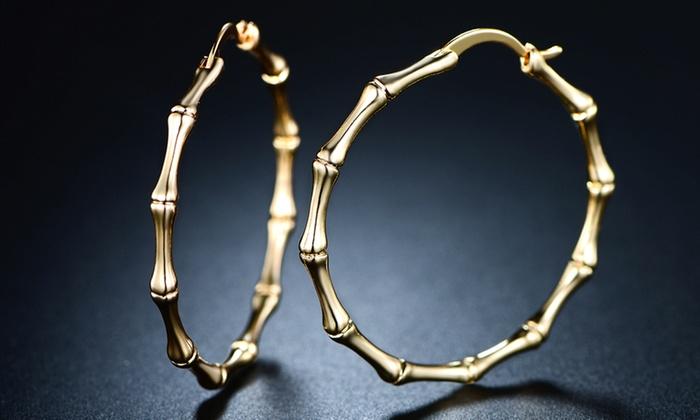 Sevil Bamboo Hoop Earrings In 18k Gold Plating