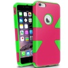 Insten Pink/Neon Green Dynamic Hybrid Hard Soft Case For iPhone 6 Plus