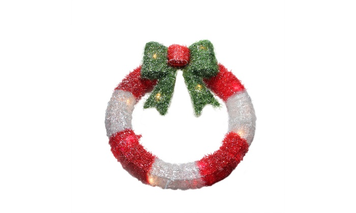 Quot lighted tinsel red white wreath w bow xmas window