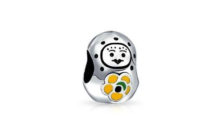 Bling Jewelry 925 Silver Babushka Doll Flower Charm Bead 3b3739ce-aa03-47ad-b4c2-801a3464b993
