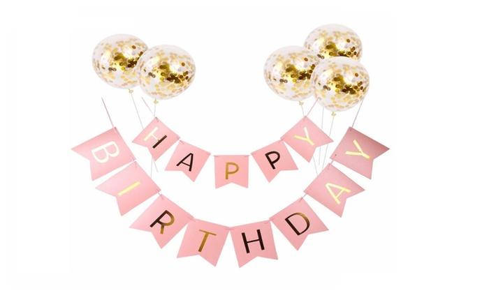 Gold Confetti Happy Birthday Letter Balloons Banner