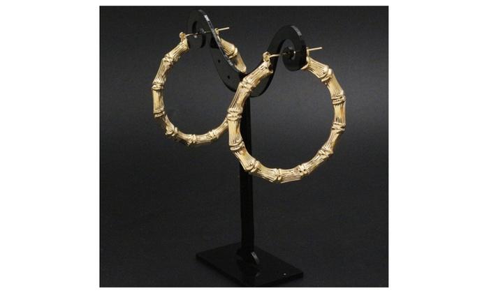 14K Gold plated bamboo earrings 1 1/16 inch  sc 1 st  Groupon & Up To 89% Off on 14K Gold plated bamboo earrin... | Groupon Goods