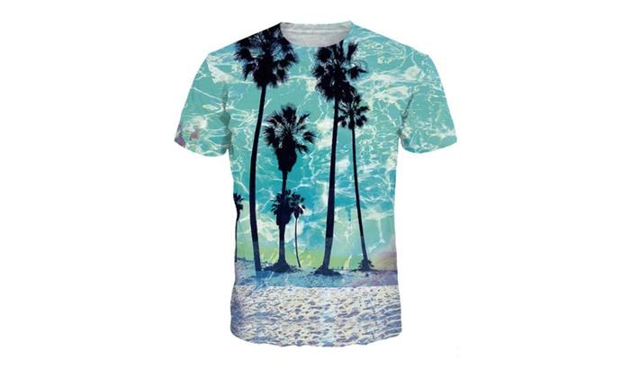 4PING Men's Creative Beach Digital Printing Tee Short-Sleeved Shirt