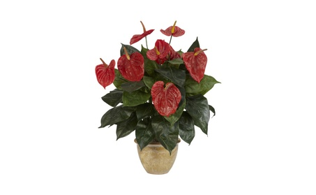 Nearly Natural Anthurium with Ceramic Vase Silk Plant 01e430ce-b948-4c3e-87e7-ecc87e246ad5