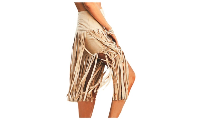 Women's Khaki Polyester Skirt With Tassel – one size