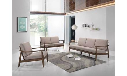 Venza Walnut Wood Upholstered 3-Piece Livingroom Set