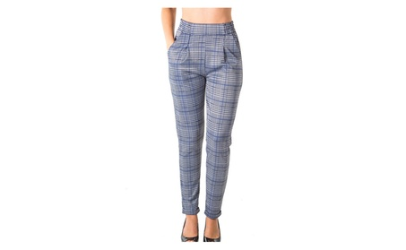 casual plaid trouser pants, stretch, elastic waist