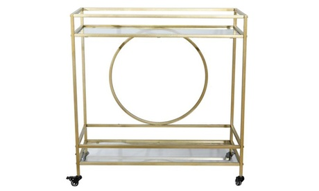 Wine Bar Cart with 2 Glass Shelves and Casters for Home Kitchen Club