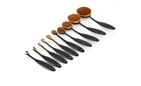 10 PCS Soft Synthetic Oval Makeup Brush Set 6e2166ab-5a61-40d4-8cbe-87c0096b9661