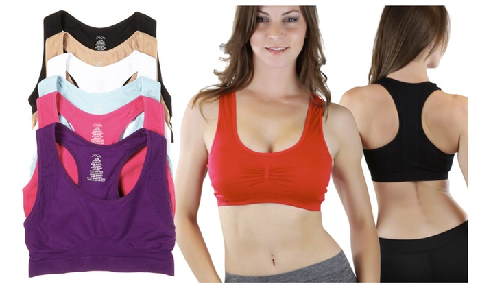 (6-Pack) Racerback Sports Bras in Standard and Plus Sizes - TBIS