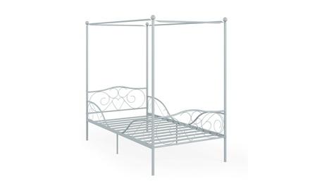 Costway Twin Size Metal Canopy Bed Frame 4 Poster Steel Slats Headboard