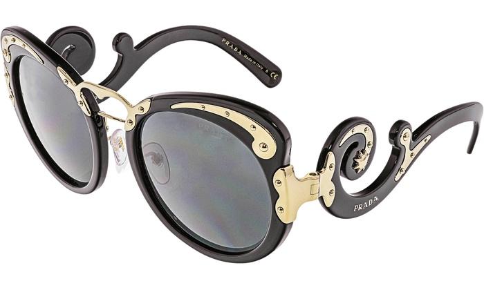 f4e2a2f78570a Prada Women s PR07TS-1AB1A1-54 Black Round Sunglasses PR07TS-1AB1A1-54   Black   53mm   Black
