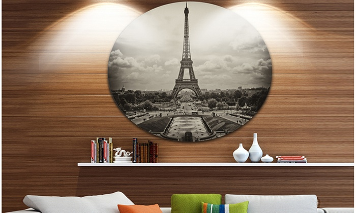 Groupon goods vintage view of paris france cityscape photo circle metal wall art