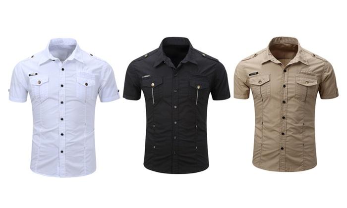 Oshlen Short Sleeve Button-up Slim Fit Shirt