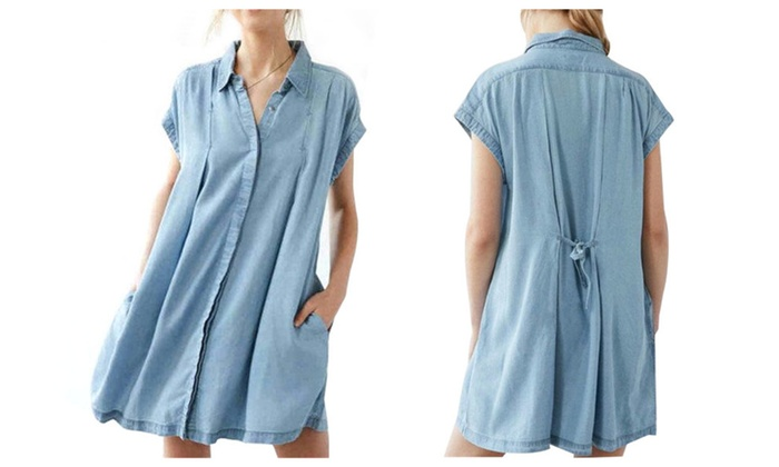 Women Vintage Button Oversize Jean Denim Shirt Dress