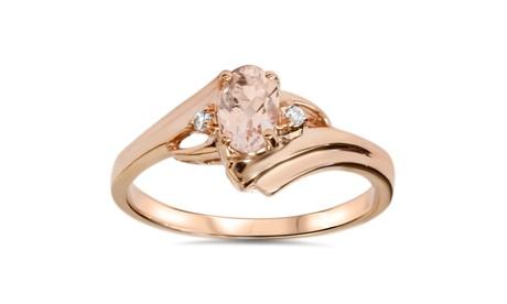 1/2 CT Morganite & Natural Diamond Ring 14 Karat Rose Gold 32f65806-0776-4ccb-84ac-901b23cbbc30