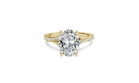 18K Yellow Gold Oval Cut Crystal Ring Made With Crystals From Swarovski