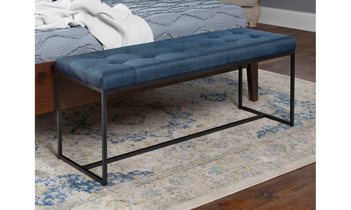 Superb 48 Upholstered Bench With Metal Base Blue Gmtry Best Dining Table And Chair Ideas Images Gmtryco