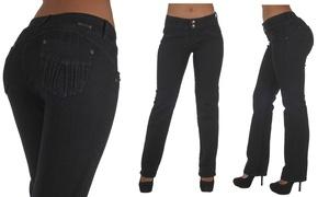 N625BT-P-Plus Size, Levanta Cola, Mid Waist, Boot Leg Jeans