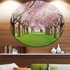 Stunning Cherry Blossoms Plenitude' Landscape Metal Circle Wall Art