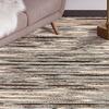 LR Home Topanga Natural Braided Striped Dark Grey Rectangle Indoor Area Rug