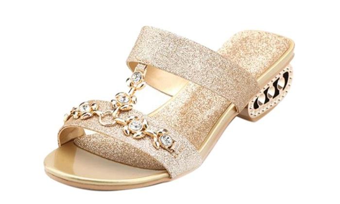 Women I Shape Bling Rhinestone Slide Sandal