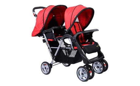Foldable Twin Baby Double Stroller Kids Jogger Travel Pushchair Red d67559d7-21cc-46dd-b2a9-36d03e2ad422