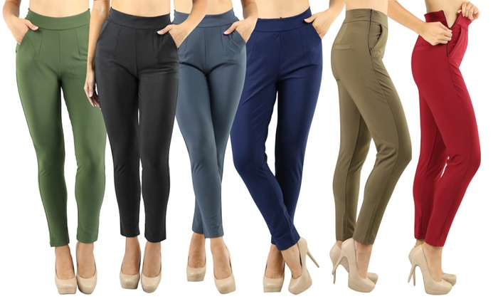 Women's High-Rise Elegant Pull-on Straight Leg Dress Pants | Groupon