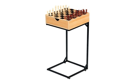 Chess Checkers Table Set Wooden Board Game with Storage Drawer Metal Stand