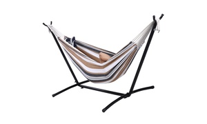 Double Hammock with Space Saving Steel Stand Includes Carry bag
