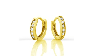 Children's 18K Gold Plated Sterling Silver Crystal Huggie Earrings