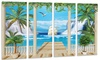 Wooden Terrace with Sea View - Landscape Photo Metal Wall Art