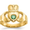 14k Yellow Gold Green Synthetic Claddagh Ring
