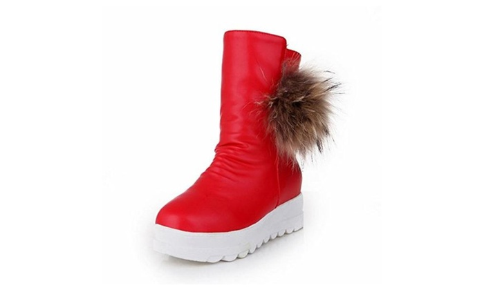 5dd6eb631f2c Carolbar Women s Pom-poms Zipper Fashion Warm Winter Platform Hidden Wedge  Heel Snow Boots