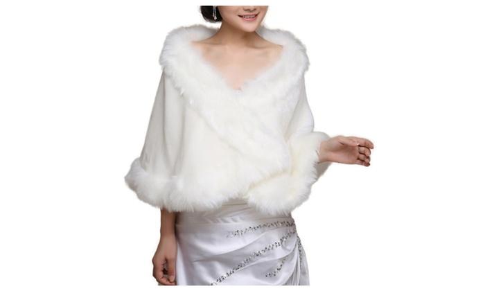 Shefetch Women's Warm Faux Fur Bridal Wedding Shawl