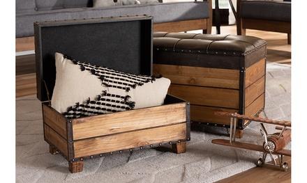 Marelli Dark Brown Faux Leather 2-Piece Wood Storage Trunk Ottoman Set