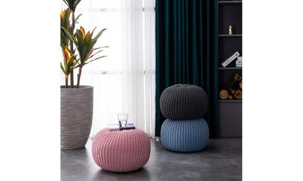Hand-woven Sofa Footstool, Futon, Gray/Pink/Blue(50*50*35cm)