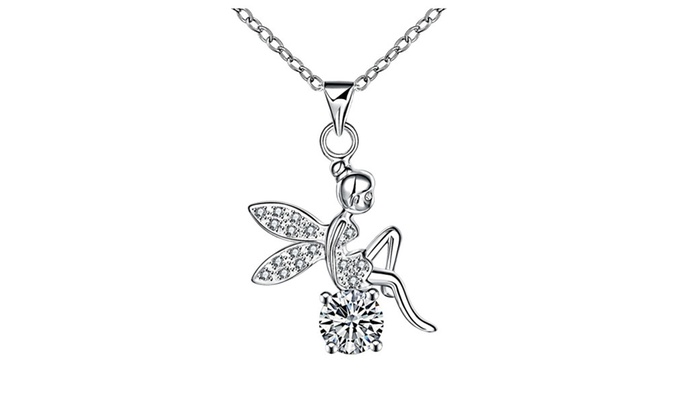 18k white gold plated angelic tinkerbell pendant with necklace groupon 18k white gold plated angelic tinkerbell pendant with necklace aloadofball Gallery