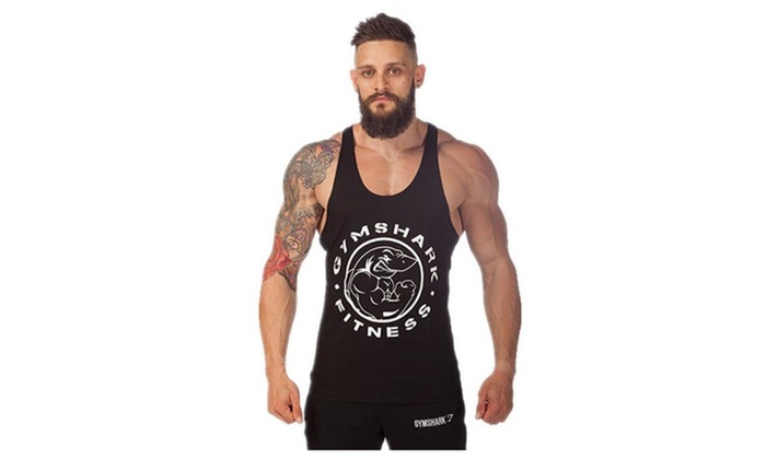 Mens GYM Shark Print Stringer Bodybuilding Gym Tank Tops