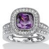 1.70 TCW Purple CZ Bridal Ring Set in Silvertone