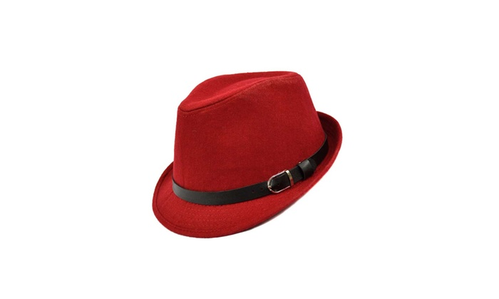 5995618f784 Solid Red Black or Grey Fashion Unisex Felt Fedora with Leather Band