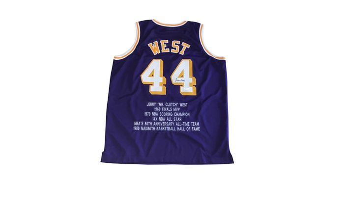 new style ad646 83612 Autographed Jerry West Los Angeles Lakers Custom Jersey Purple FHS145