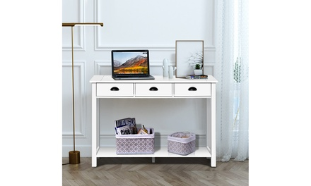 "Costway 47"" Console Table Hall Table Side Desk Accent Table Drawers Shelf White"