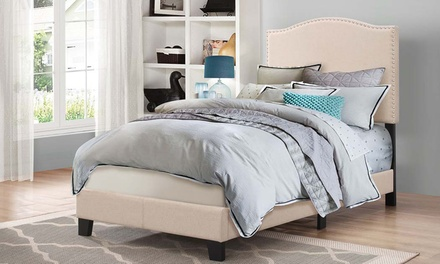 Benjamin Fabric Upholstered Twin Size Arched Platform Bed with Nailheads